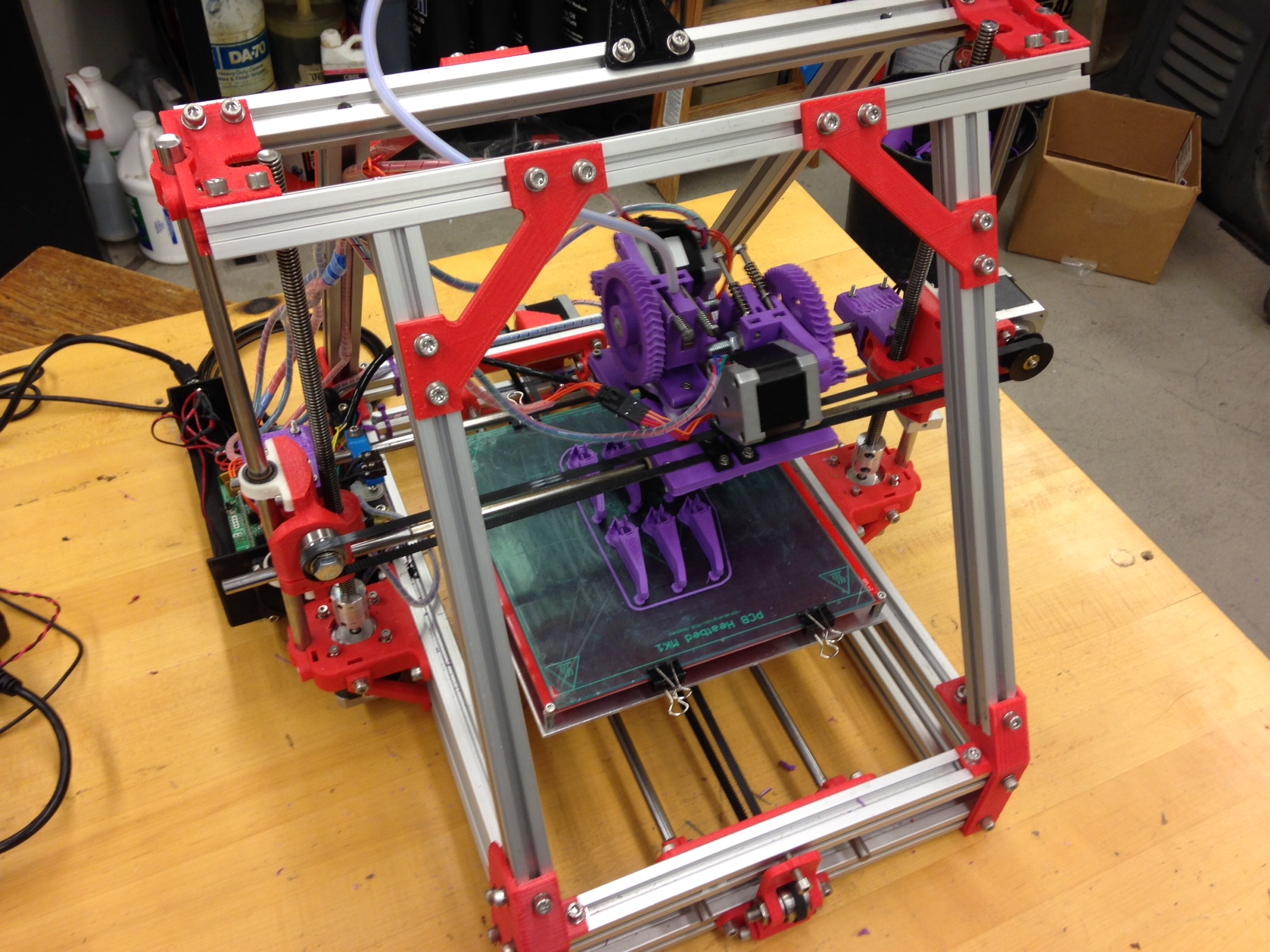 A RepRap 3D printer (built by students Winter Study 2013) is available for student use. The printer fabricates parts using a variety of plastics based on 3D models either created in the shop or downloaded from the internet.