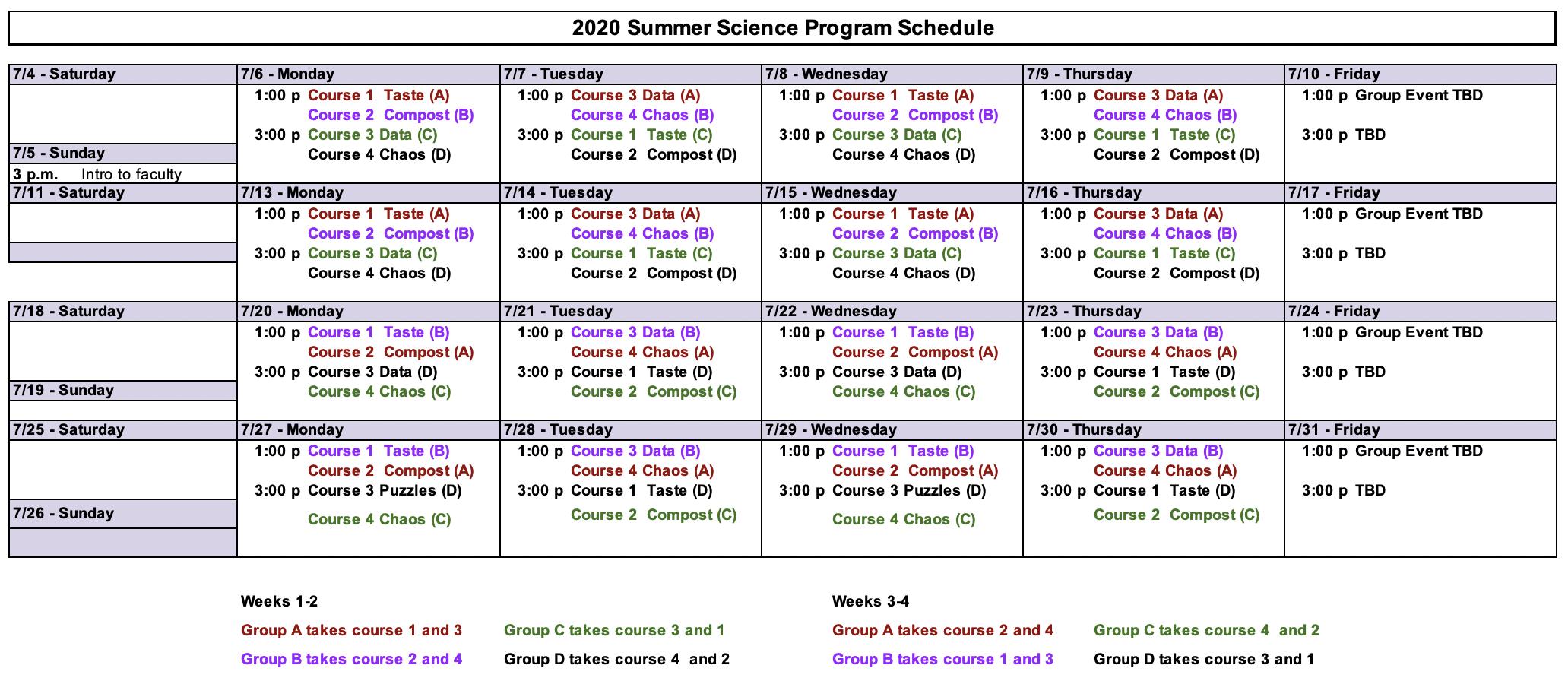 SSP 2020 Schedule